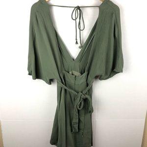 Windsor Dresses - Windsor Olive Green Boho Mini Dress Small